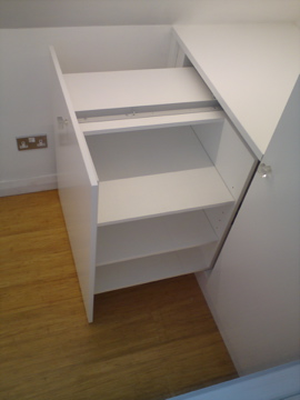 Side access shelves using a pullout sliding system