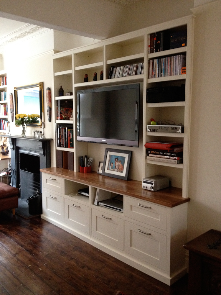 Living room drawer and shelving cupboard